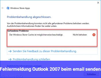 Fehlermeldung Outlook 2007 beim email senden