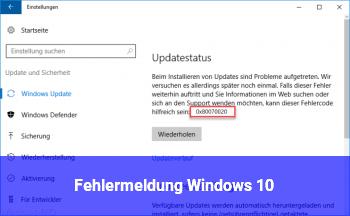 Fehlermeldung Windows 10
