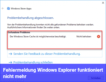 """Fehlermeldung """"Windows Explorer funktioniert nicht mehr"""""""