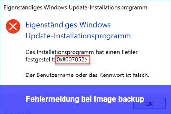 Fehlermeldung bei Image backup