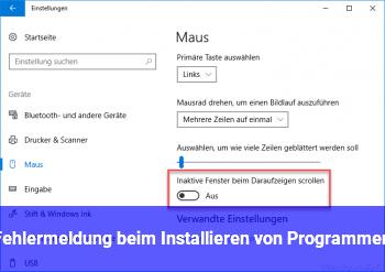 Fehlermeldung beim Installieren von Programmen