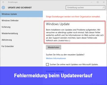 Fehlermeldung beim Updateverlauf