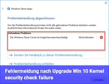 Fehlermeldung nach Upgrade Win 10:  Kernel security check failure