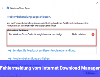 Fehlermeldung vom Internet Download Manager