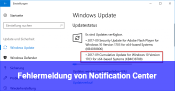 "Fehlermeldung von ""Notification Center"""