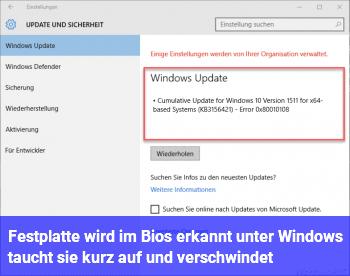 Festplatte wird im Bios erkannt, unter Windows taucht sie kurz auf und verschwindet