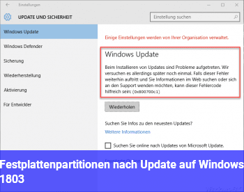 Festplattenpartitionen (nach Update auf Windows 1803)