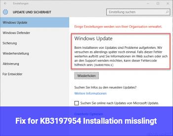 Fix for KB3197954 Installation misslingt