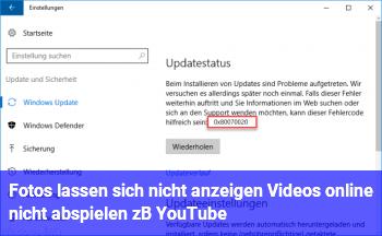 Fotos lassen sich nicht anzeigen / Videos online nicht abspielen (z.B. YouTube)
