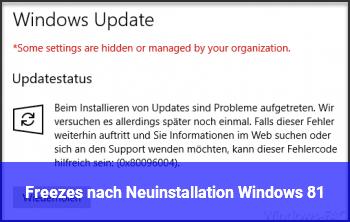Freezes nach Neuinstallation Windows 8.1