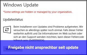 Freigabe nicht ansprechbar seit update