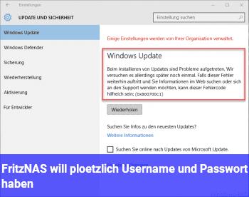 Fritz!NAS will plötzlich Username und Passwort haben