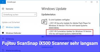 Fujitsu ScanSnap iX500 Scanner sehr langsam