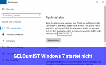 [GELÖST] Windows 7 startet nicht