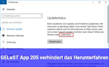 GELÖST: App #205 verhindert das Herunterfahren