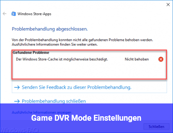 Game DVR Mode Einstellungen