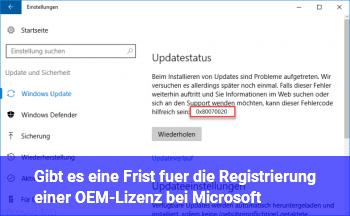 Gibt es eine Frist für die Registrierung einer OEM-Lizenz bei Microsoft?