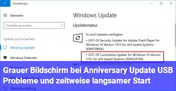 Grauer Bildschirm bei Anniversary Update, USB Probleme und zeitweise langsamer Start