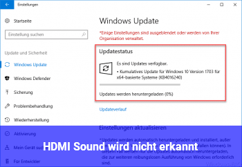 HDMI Sound wird nicht erkannt
