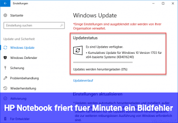HP Notebook friert für Minuten ein, Bildfehler
