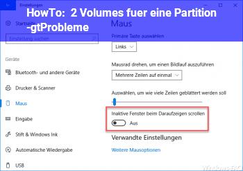 HowTo 2 Volumes für eine Partition ->Probleme