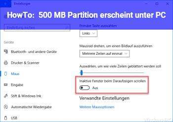 HowTo 500 MB Partition erscheint unter PC.