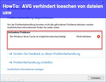 HowTo AVG verhindert löschen von dateien u.s.w