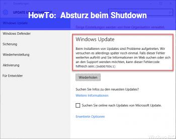 HowTo Absturz beim Shutdown
