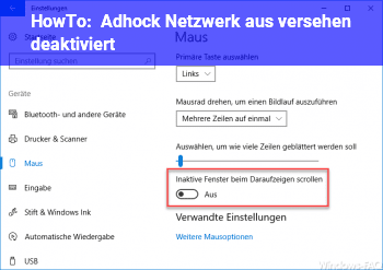 HowTo Adhock Netzwerk aus versehen deaktiviert