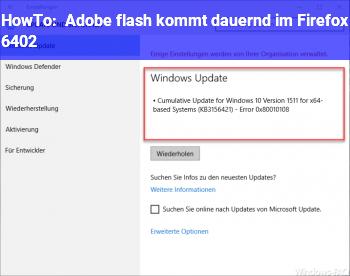 HowTo Adobe flash kommt dauernd im Firefox 6402