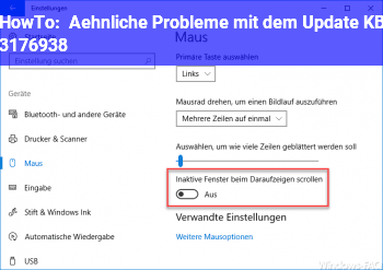 HowTo Ähnliche Probleme mit dem Update KB 3176938