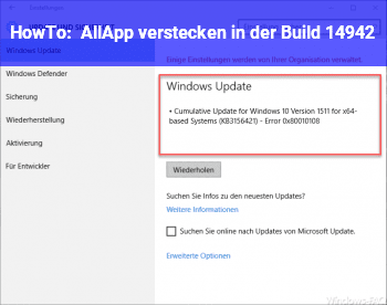HowTo AllApp verstecken in der Build 14942