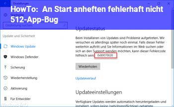 """HowTo An """"Start"""" anheften fehlerhaft (nicht 512-App-Bug)"""
