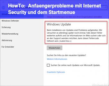 HowTo Anfängerprobleme mit Internet Security und dem Startmenü