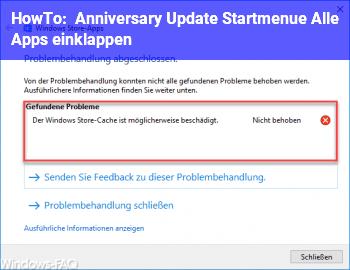 HowTo Anniversary Update, Startmenü, Alle Apps einklappen