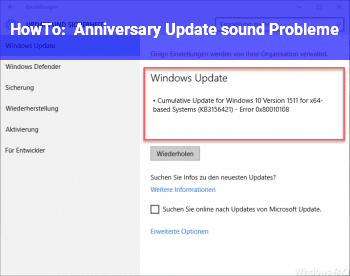 HowTo Anniversary Update sound Probleme
