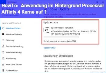 HowTo Anwendung im Hintergrund: Processor Affinty: 4 Kerne auf 1