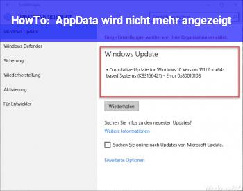 HowTo AppData wird nicht mehr angezeigt
