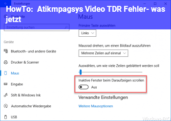 HowTo Atikmpag.sys Video TDR Fehler- was jetzt?