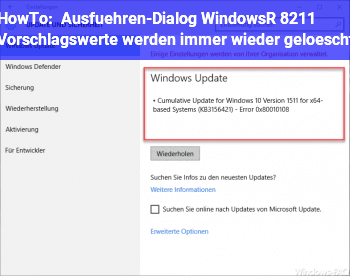 HowTo Ausführen-Dialog (Windows+R) – Vorschlagswerte werden immer wieder gelöscht