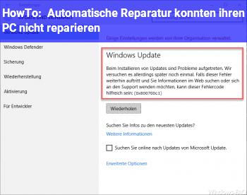 HowTo Automatische Reparatur konnten ihren PC nicht reparieren