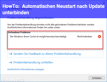 HowTo Automatischen Neustart nach Update unterbinden