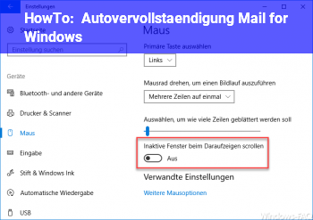 HowTo Autovervollständigung Mail for Windows