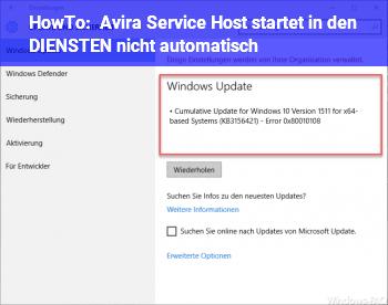 HowTo Avira Service Host startet in den DIENSTEN nicht automatisch