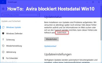 HowTo Avira blockiert Hostsdatei Win10