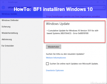 HowTo BF1 installiren Windows 10