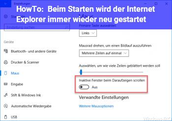 HowTo Beim Starten wird der Internet Explorer immer wieder neu gestartet