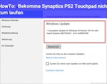 HowTo Bekomme Synaptics PS/2 Touchpad nicht zum laufen