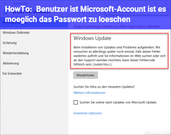 HowTo Benutzer ist Microsoft-Account, ist es möglich das Passwort zu löschen?