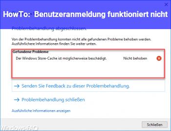 HowTo Benutzeranmeldung funktioniert nicht